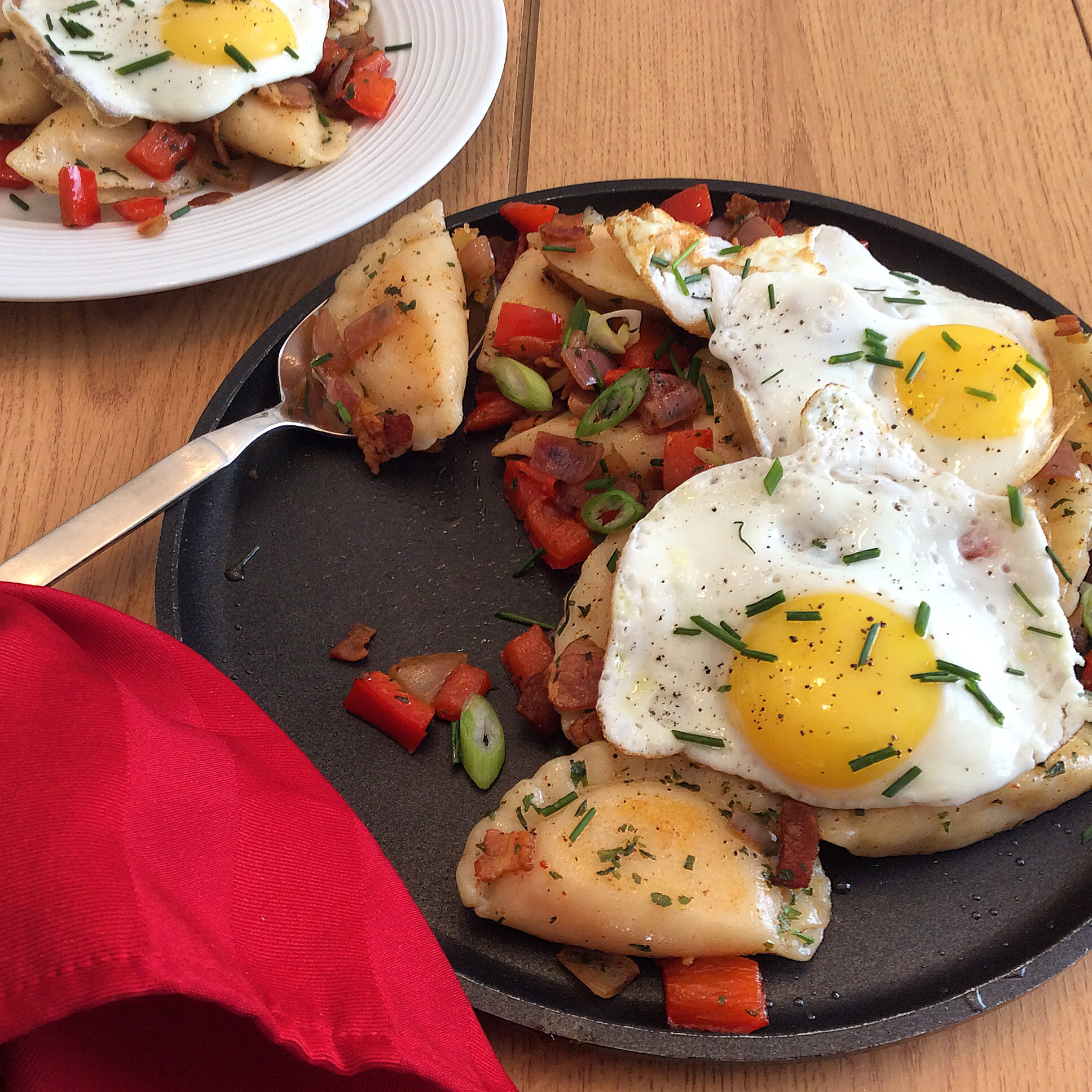 Pierogi Hash with Fried Eggs
