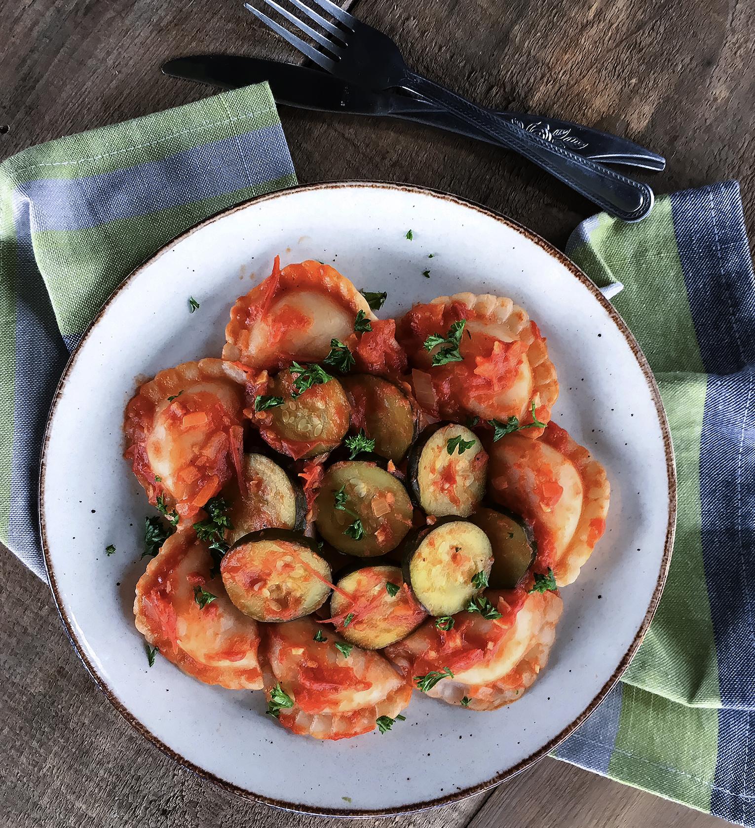 Braised Tomato Zucchini Pierogi